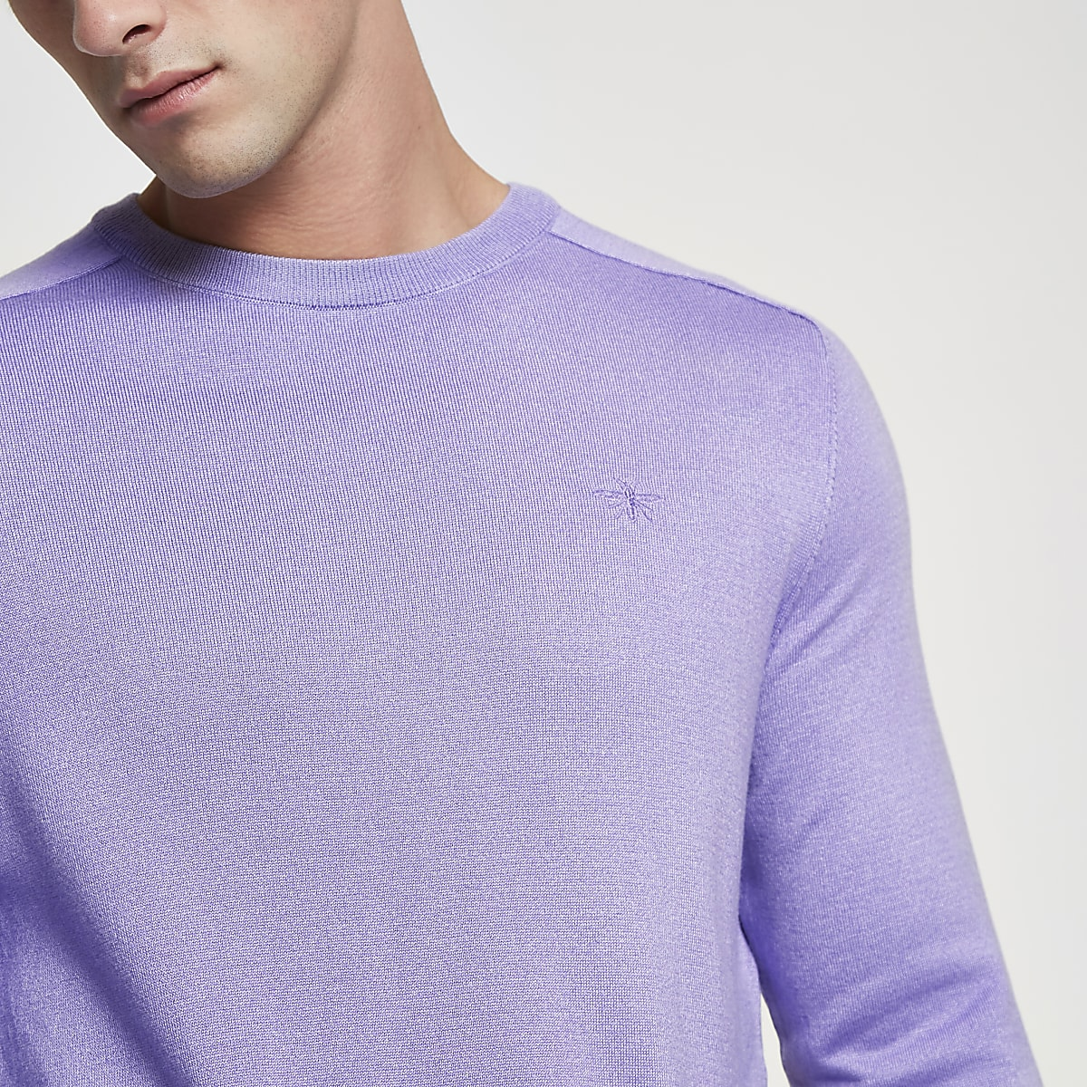 Purple slim fit crew neck jumper