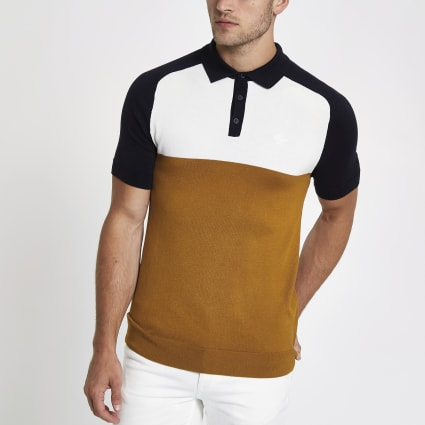 Yellow slim fit colour block polo shirt