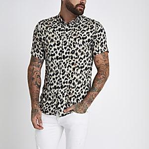 Grijs slim-fit overhemd met luipaardprint en revers