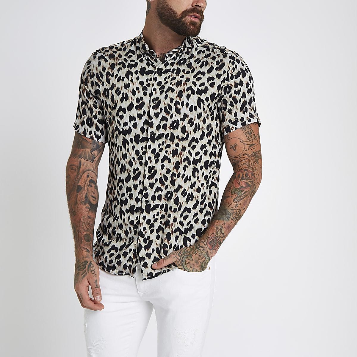 Heren Slim Fit Overhemd.Grijs Slim Fit Overhemd Met Luipaardprint En Revers Overhemden Met