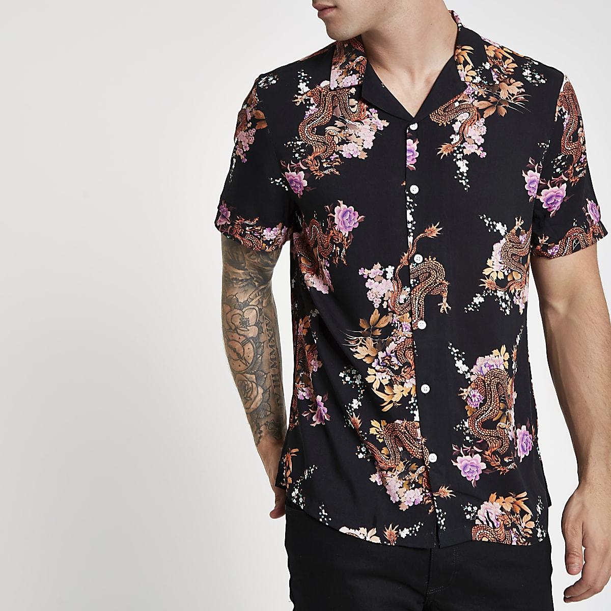 Overhemd Zwart Korte Mouw.Zwart Overhemd Met Korte Mouwen Bloemen En Drakenprint