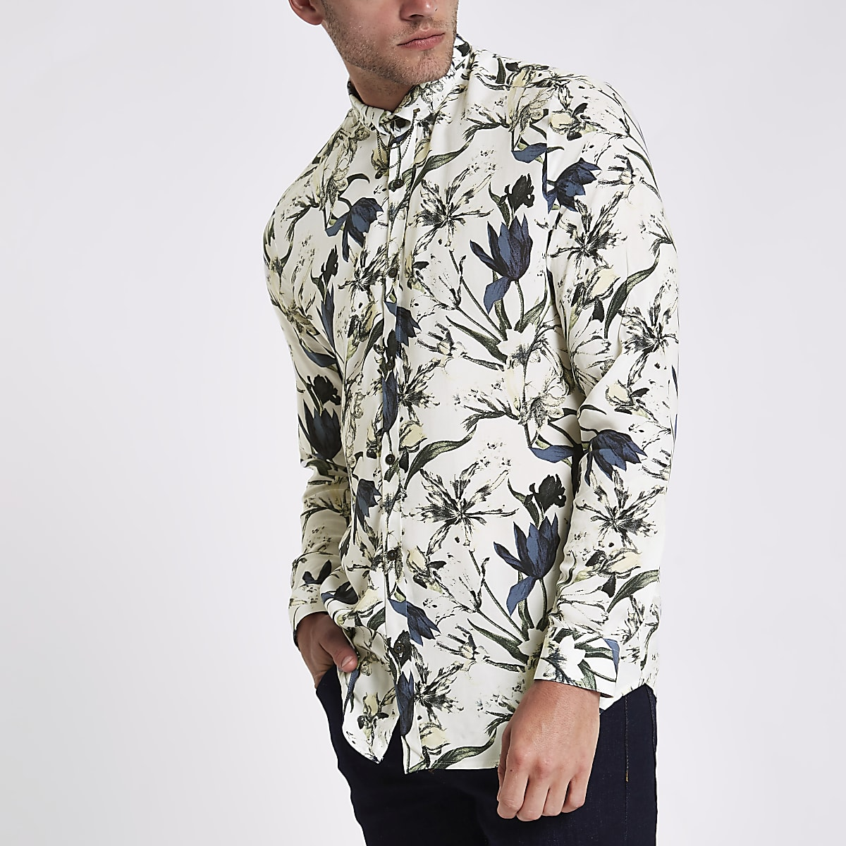 Ecru floral slim fit long sleeve shirt