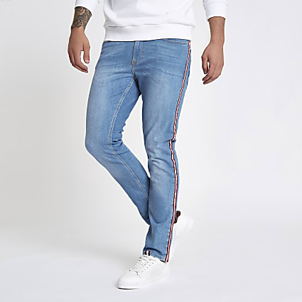 Blue Sid tape side skinny stretch jeans