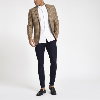 Brown check skinny fit blazer
