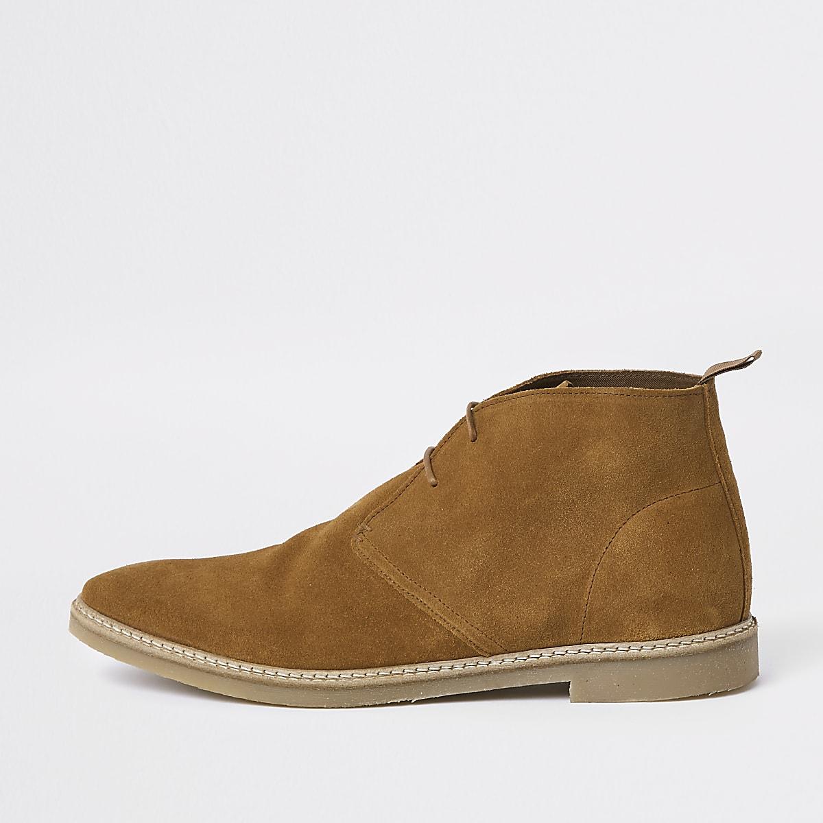 Tan suede eyelet desert boots