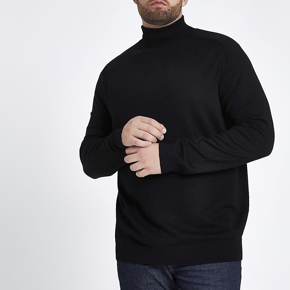 Big and Tall black slim fit roll neck jumper