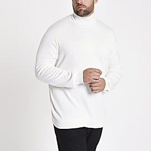 Big and Tall ecru slim fit roll neck sweater