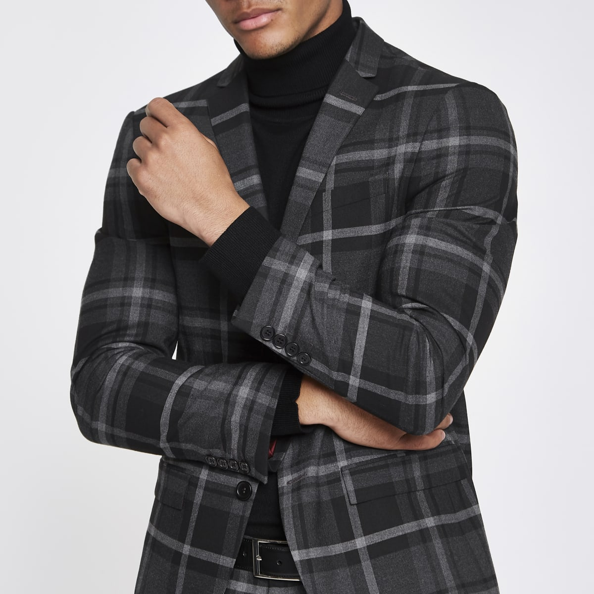 Grey check print skinny fit suit jacket