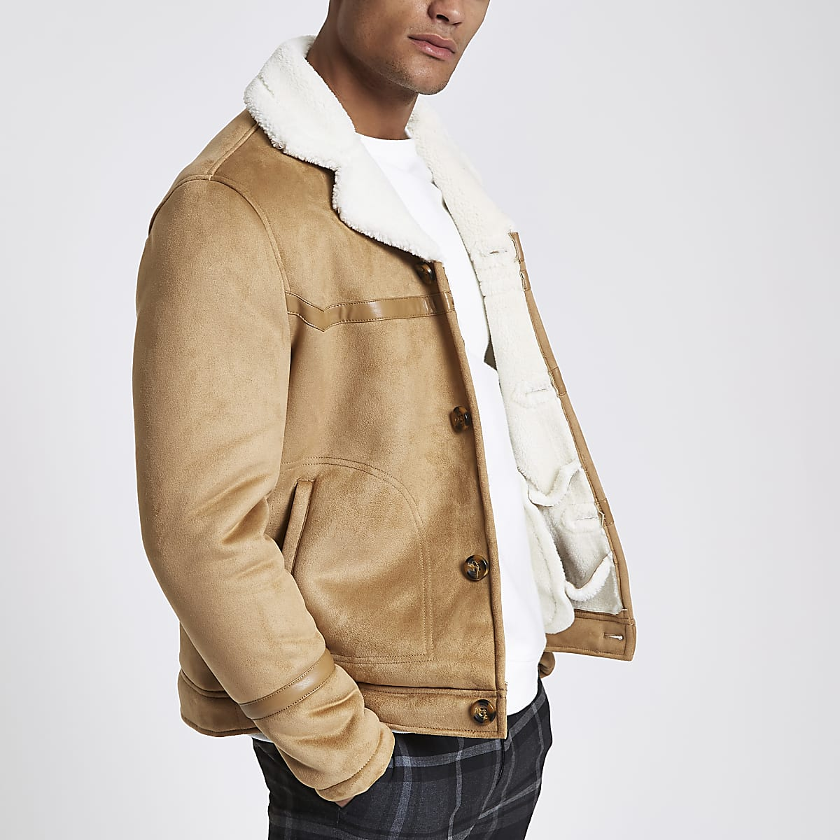 Brown suede button front shearling jacket