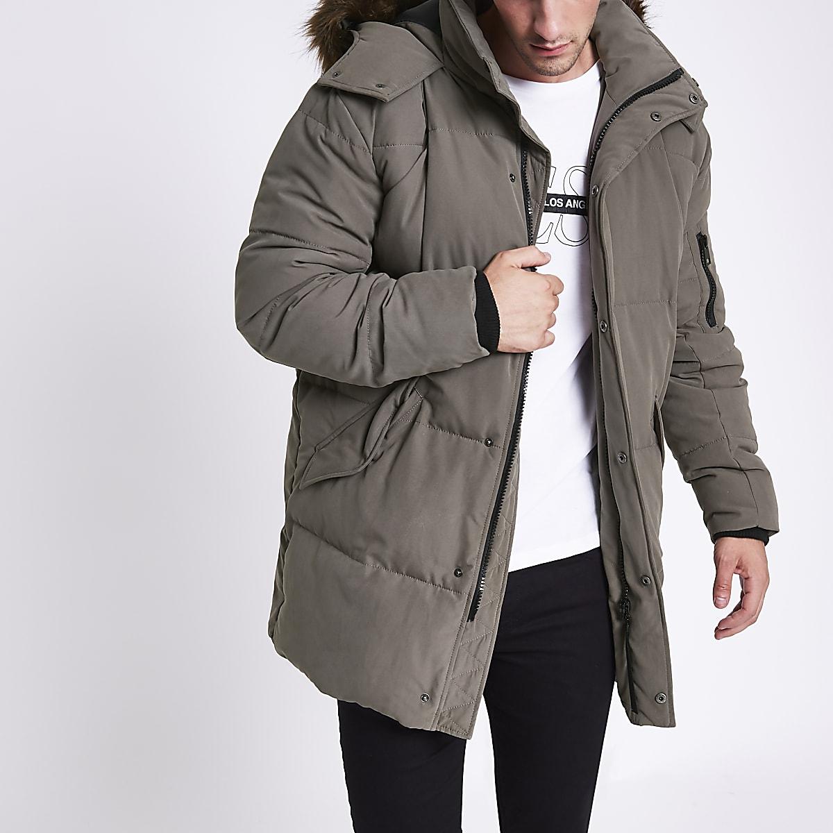 Grey longline faux fur hooded parka jacket