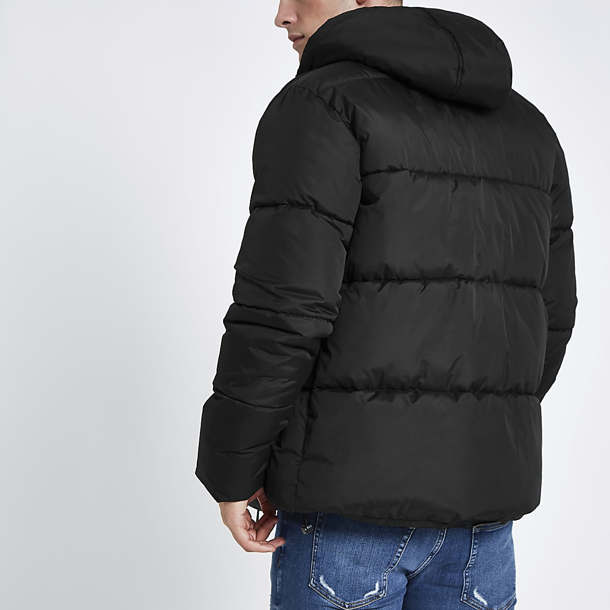 0356b24828b4 Black hooded puffer jacket with funnel neck - Jackets - Coats ...