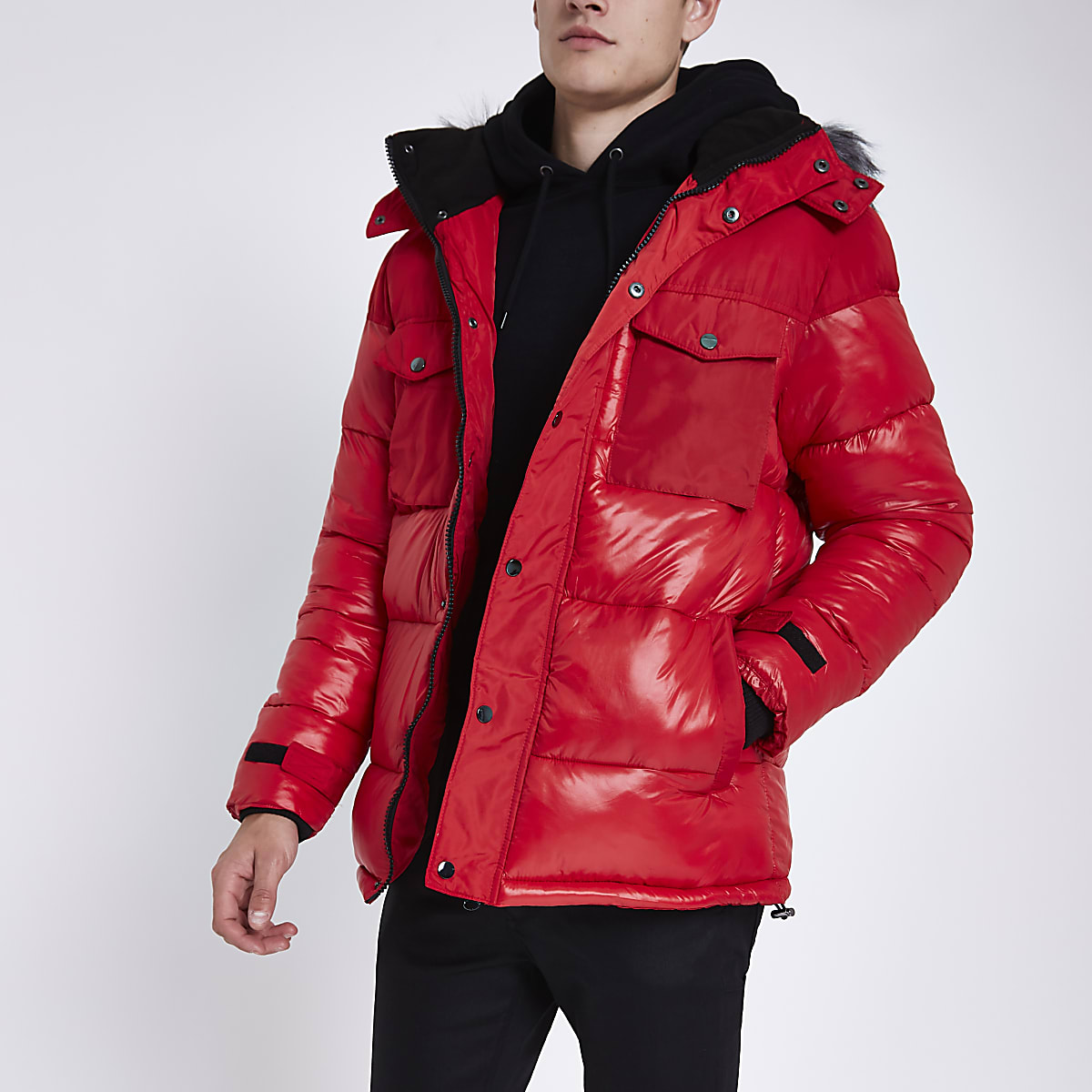 Red faux fur trim hooded long puffer jacket
