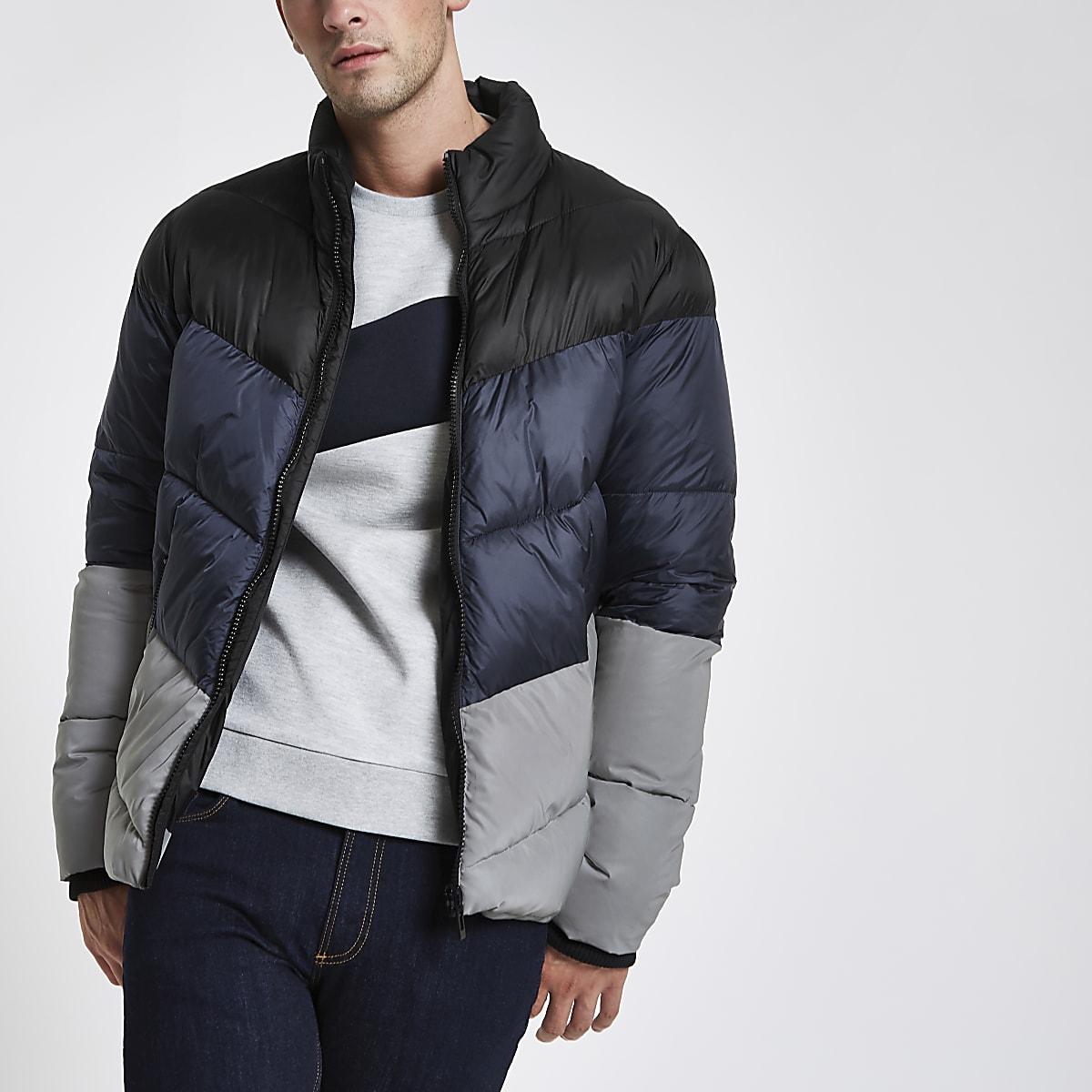 Blue color block reflective puffer jacket