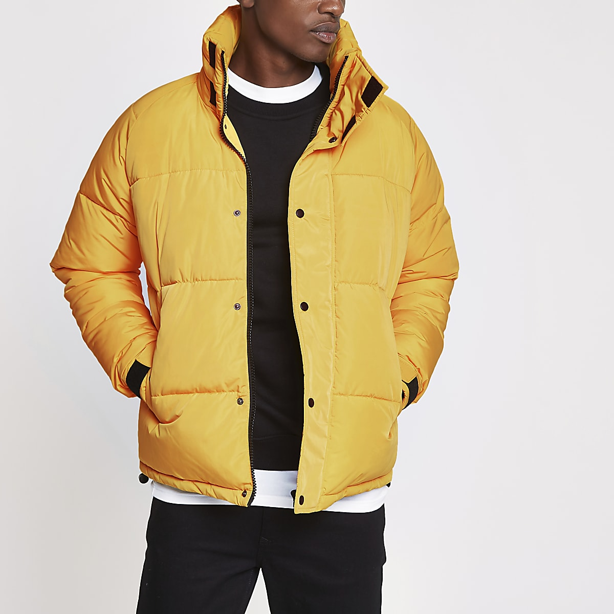 Yellow funnel neck puffer jacket