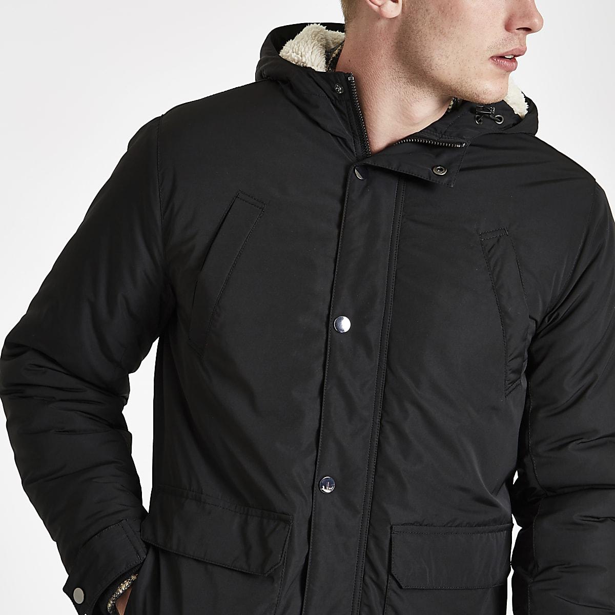 67aafd723c3f Black hooded borg lined jacket - Jackets - Coats & Jackets - men