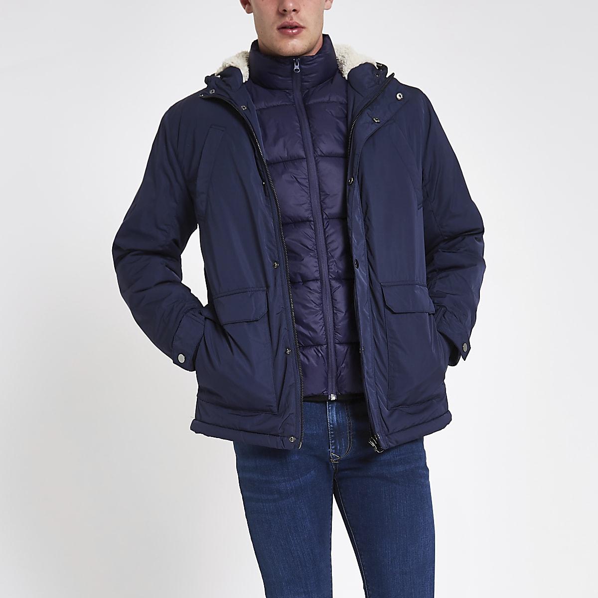 e39452904f1 Navy hooded borg lined jacket - Jackets - Coats   Jackets - men