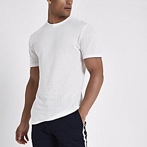 Wit slim-fit T-shirt met korte mouwen en wafeldessin