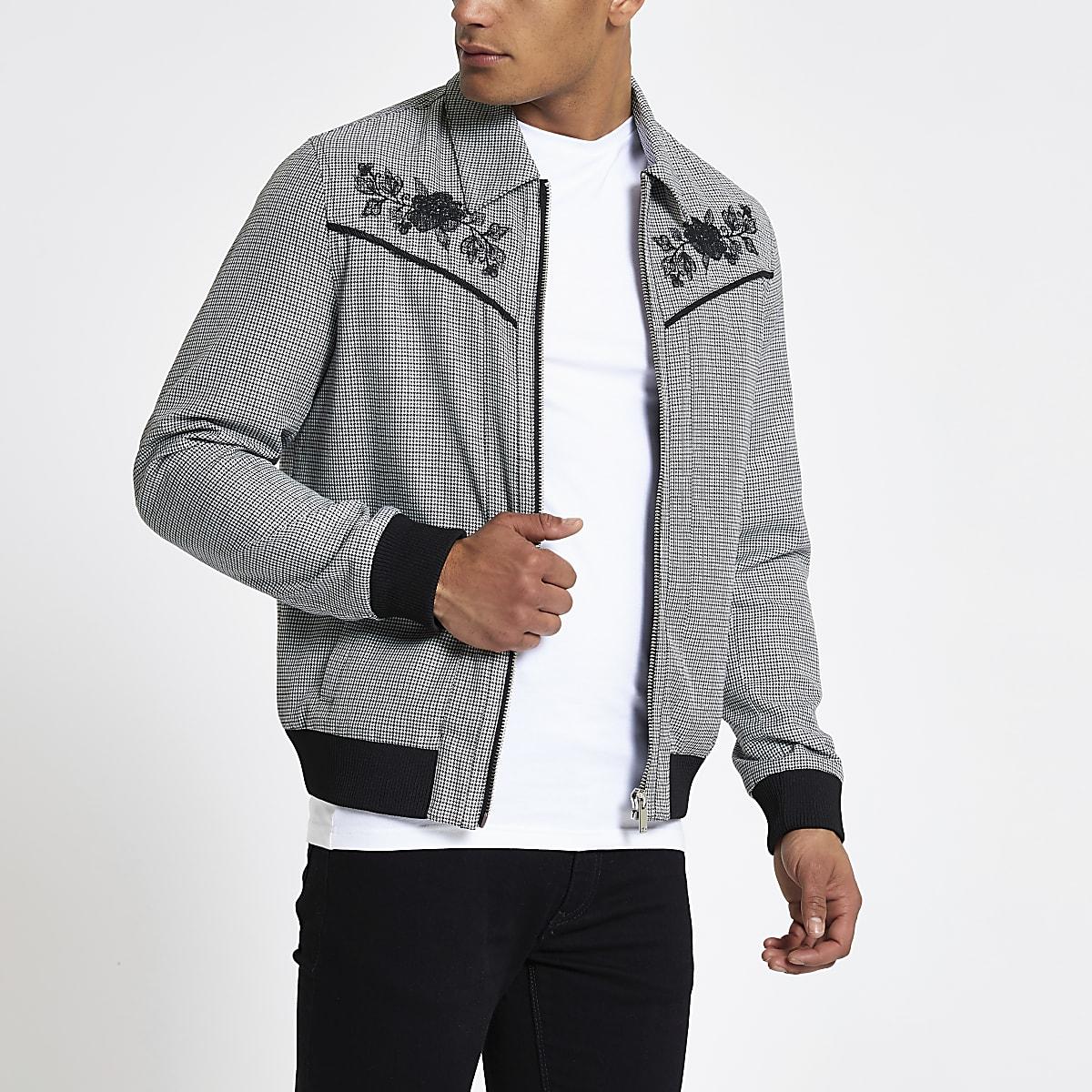 Black check floral embroidered western jacket