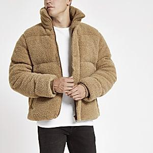 Ecru fleece puffer jacket