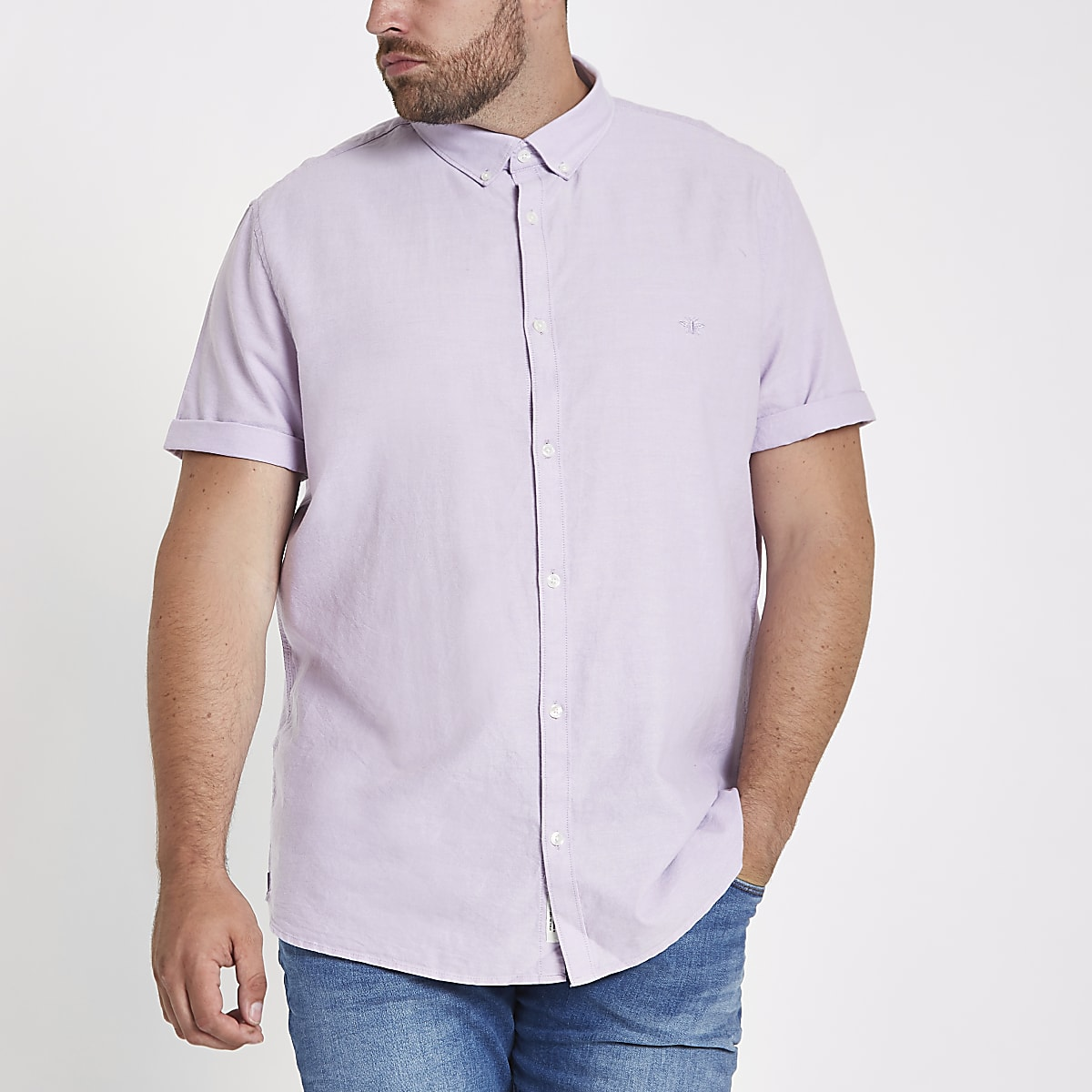 Big & Tall – Kurzärmeliges Oxford Hemd in Flieder