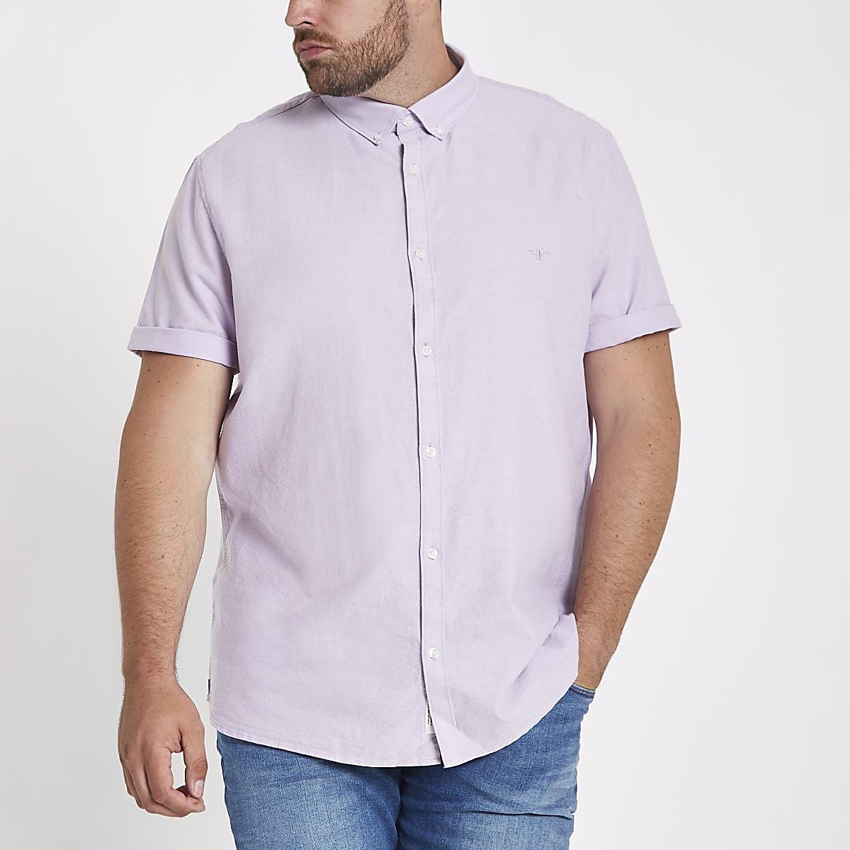 Big & Tall – Chemise en oxford lilas à manches courtes