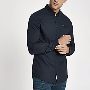 Navy embroidered long sleeve Oxford shirt