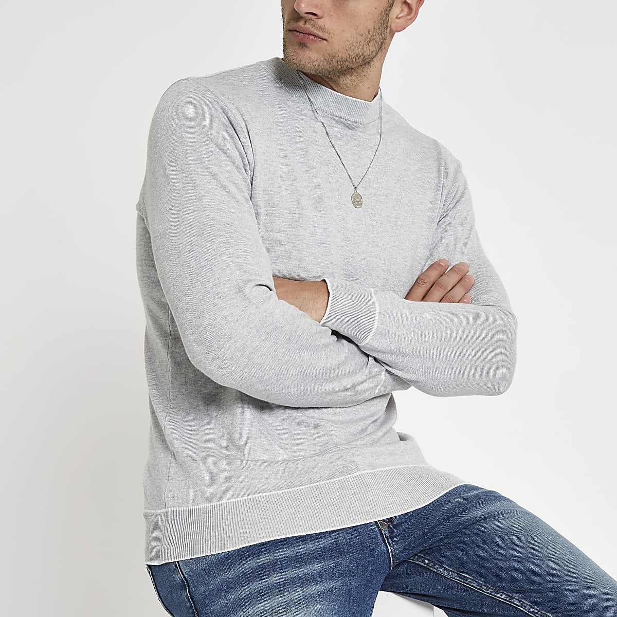 Grey tipped crew neck slim fit sweatshirt