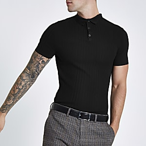 RI Studio black rib slim fit polo shirt
