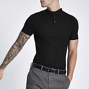 RI Studio black rib slim fit polo shirt