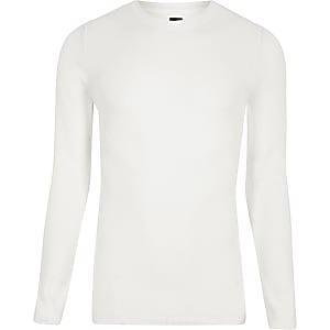 RI Studio white crew neck muscle fit sweater