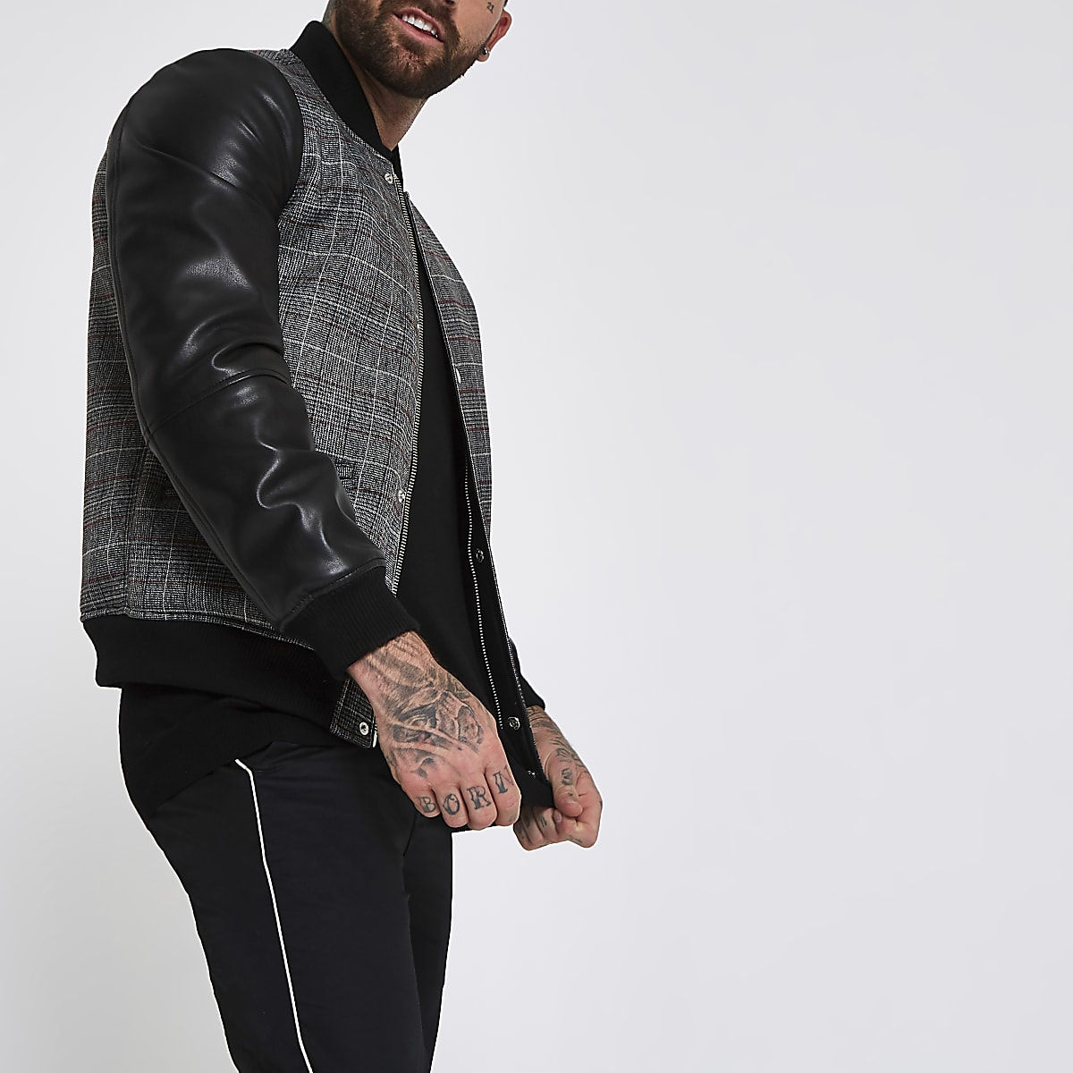 bfa88a938 Black check faux leather sleeve bomber jacket