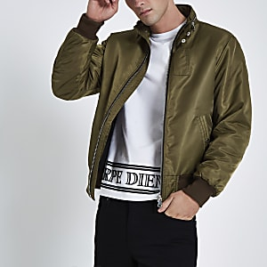 Dark green racer neck jacket
