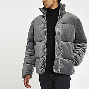 Grey velvet funnel neck puffer jacket