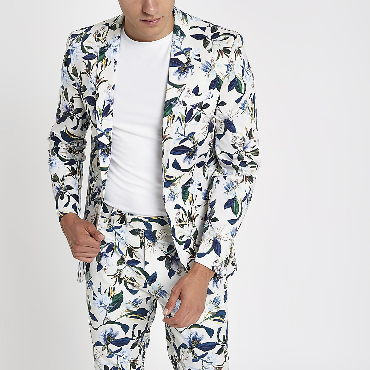 White floral skinny fit suit jacket