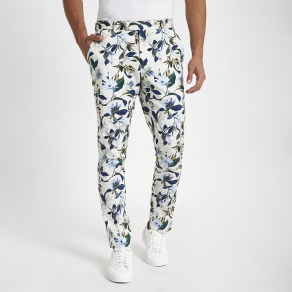 White skinny fit floral suit trousers
