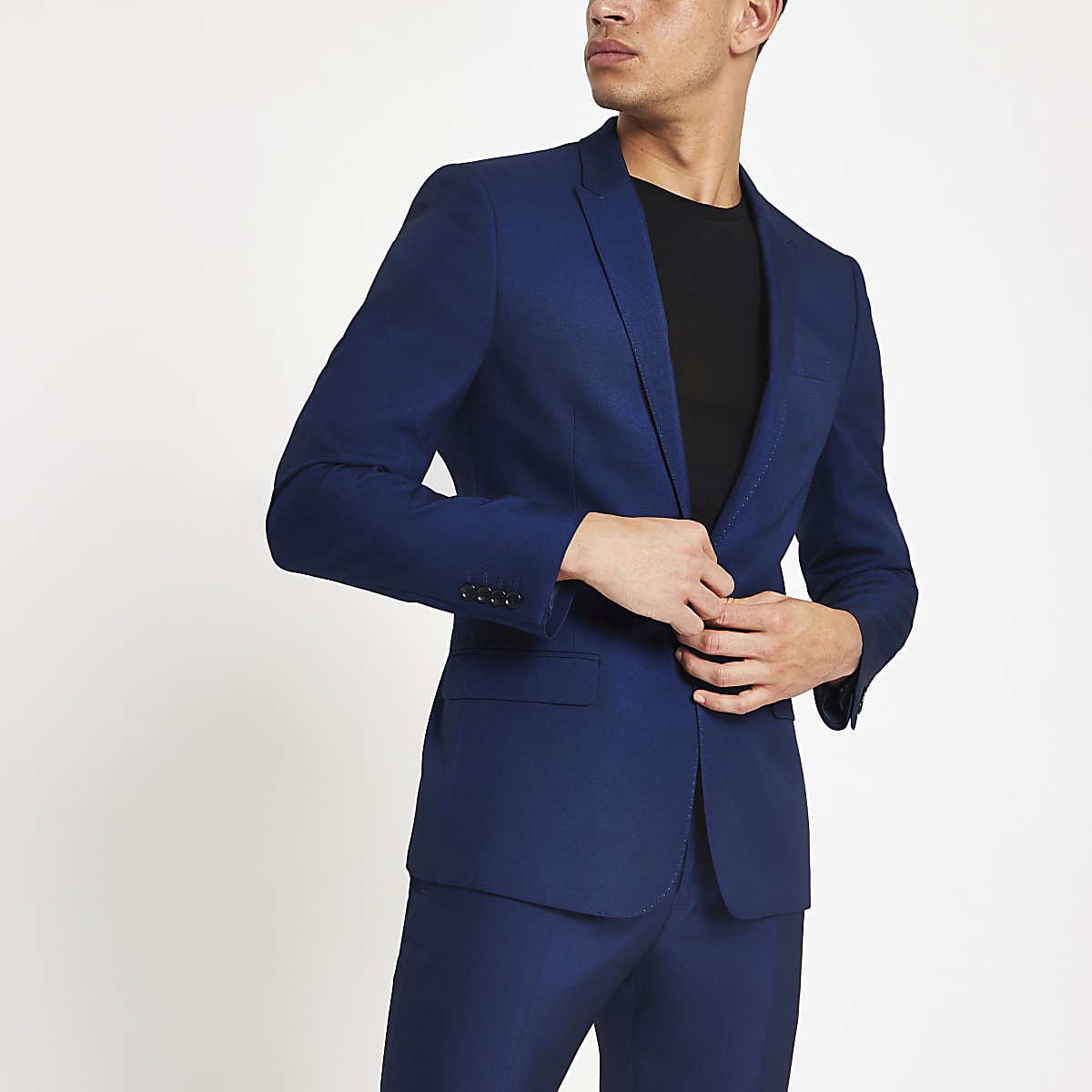 Bright blue skinny fit suit jacket