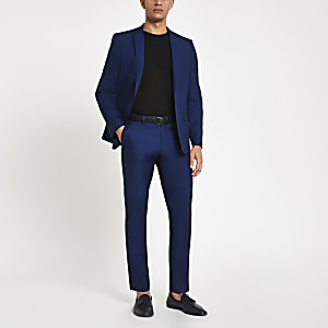 Bright blue skinny fit suit trousers