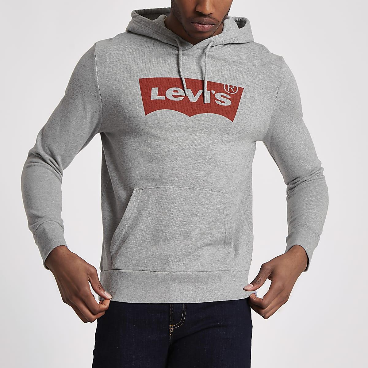Levi's grey logo print hoodie