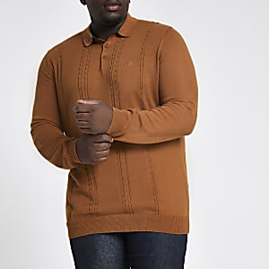 Big and Tall brown cable slim fit polo shirt