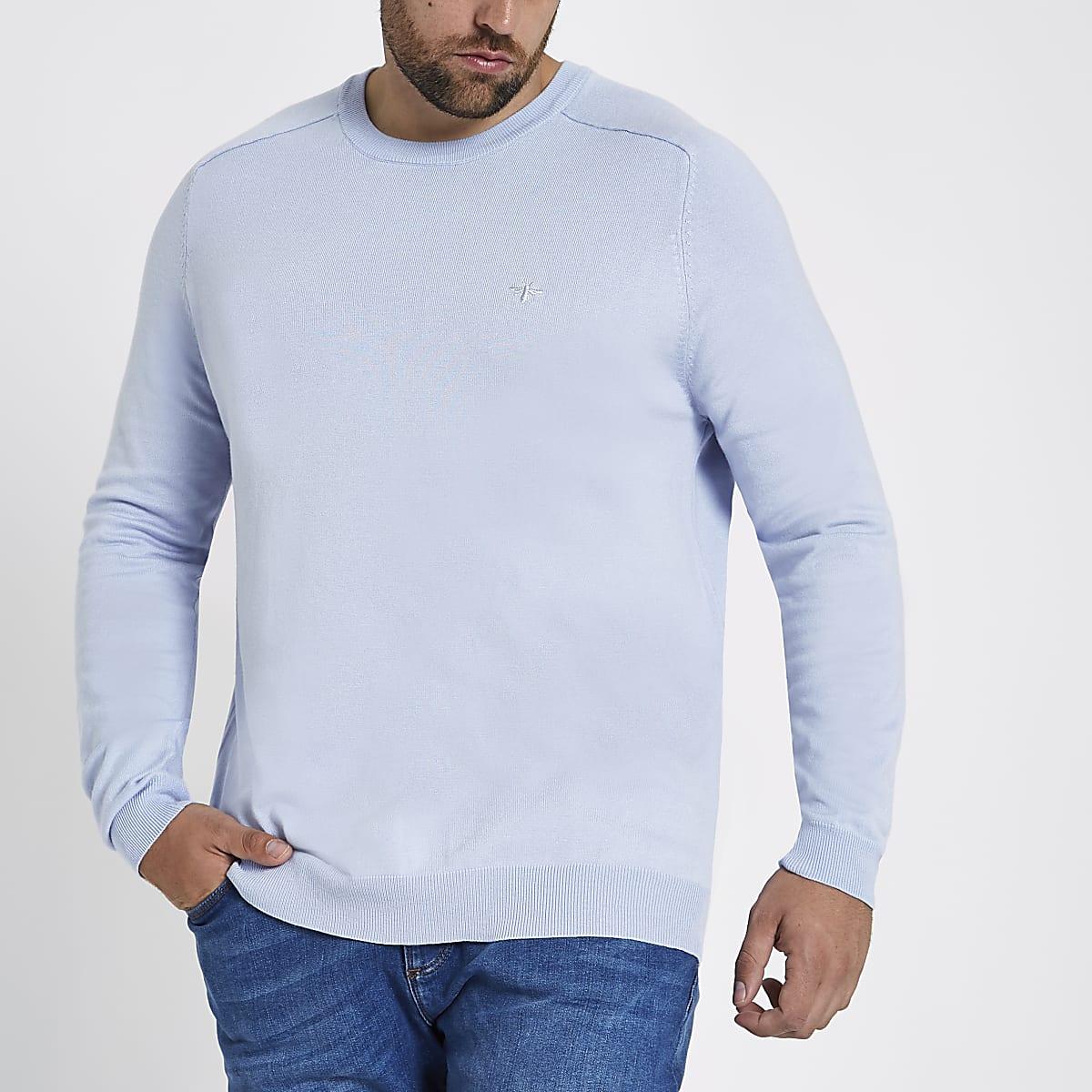 Big and Tall blue slim fit crew neck jumper