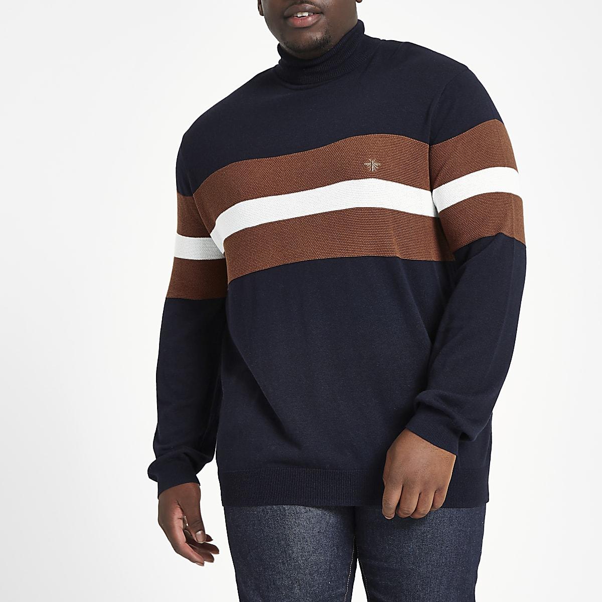 Big & Tall – Marineblauer Slim Fit Pullover in Blockfarben