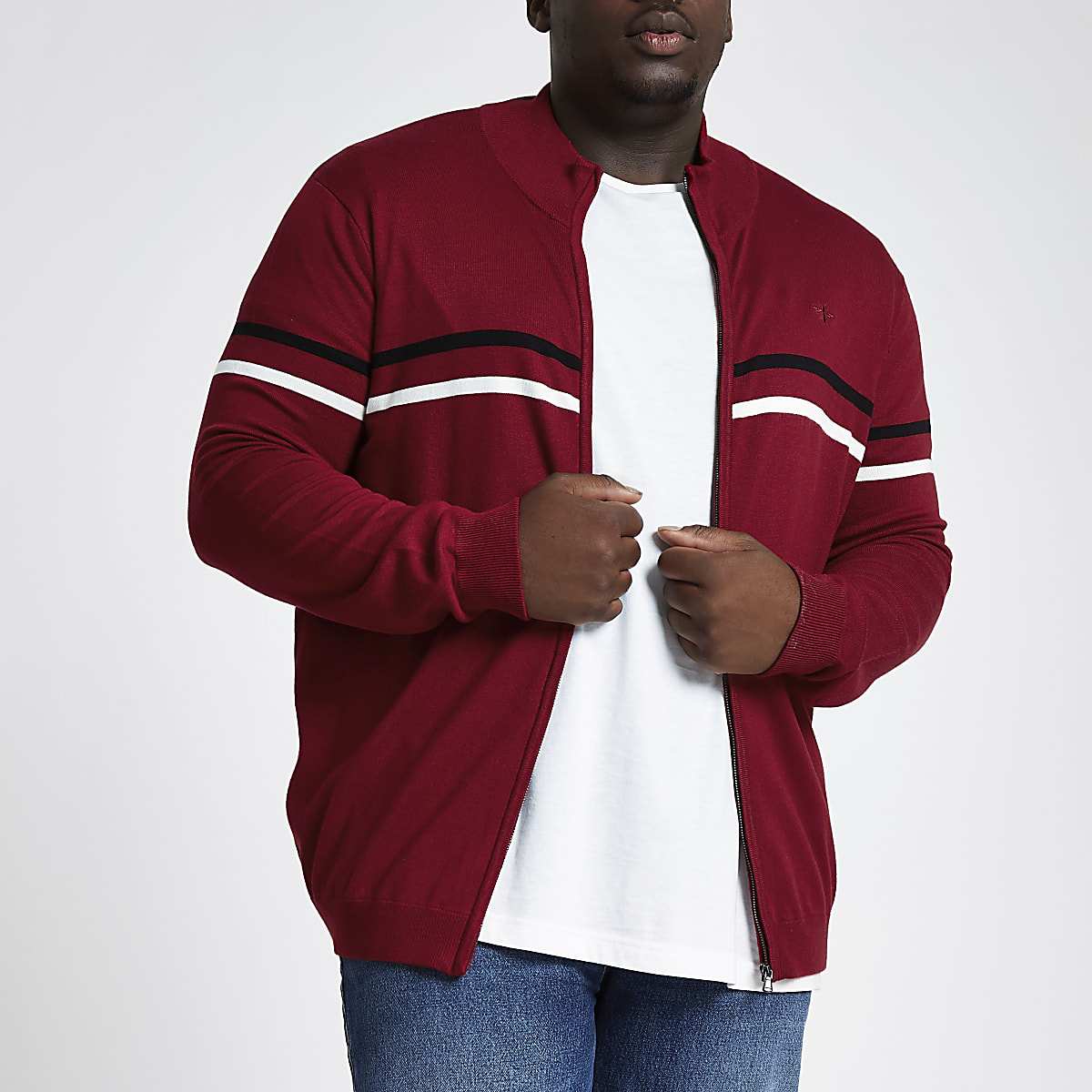 Big & Tall – Roter Slim Fit Pullover mit Reißverschluss