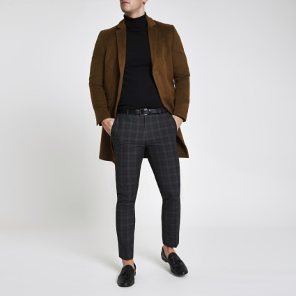 Brown button-down overcoat