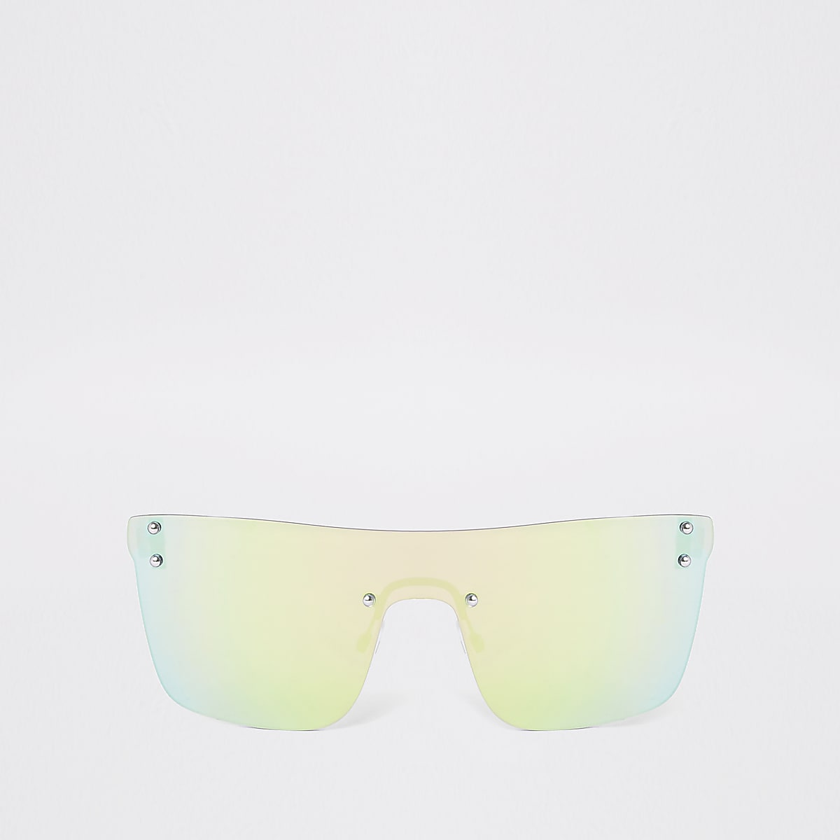 Grey mirrored visor sunglasses