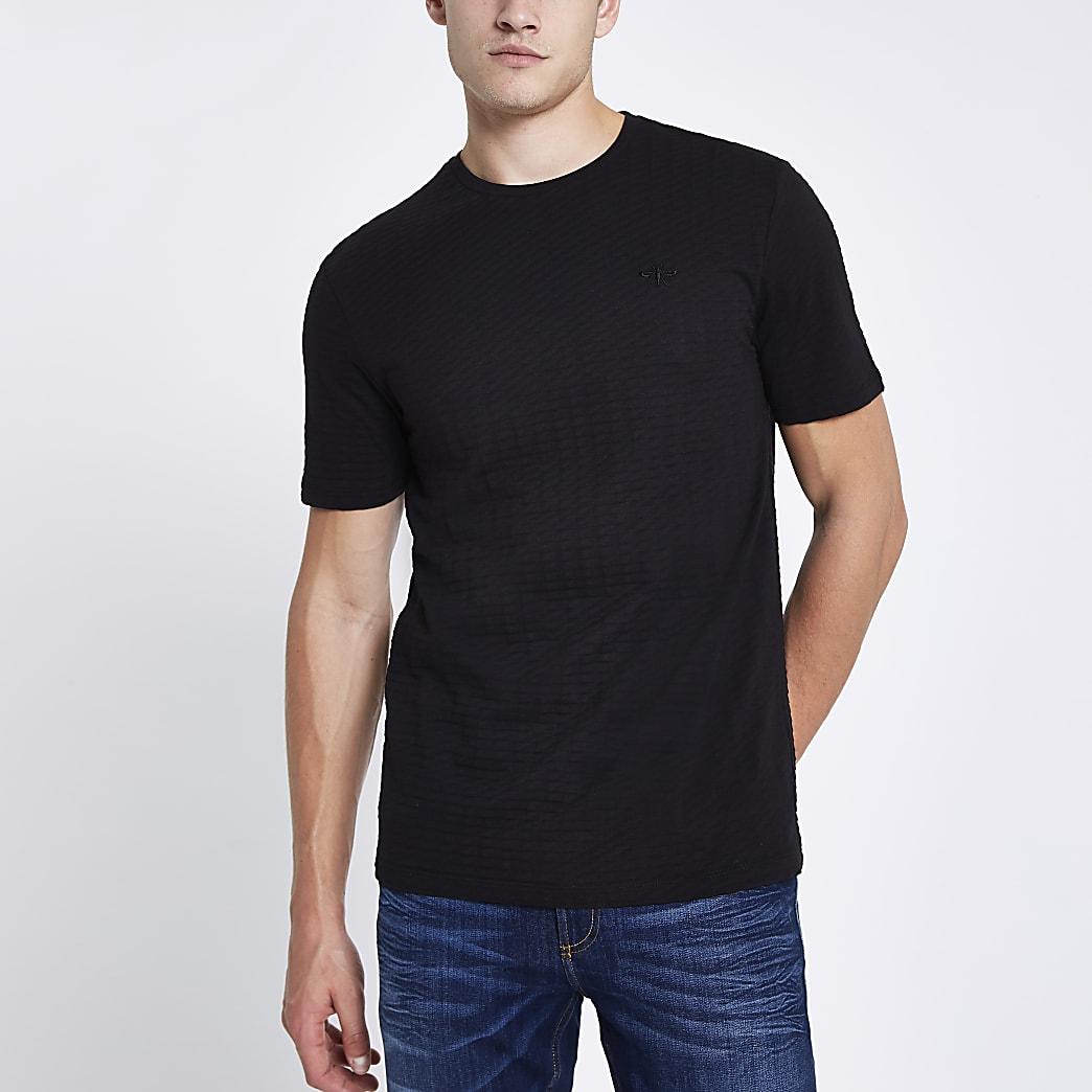 T-shirt slim noir gaufré à manches courtes