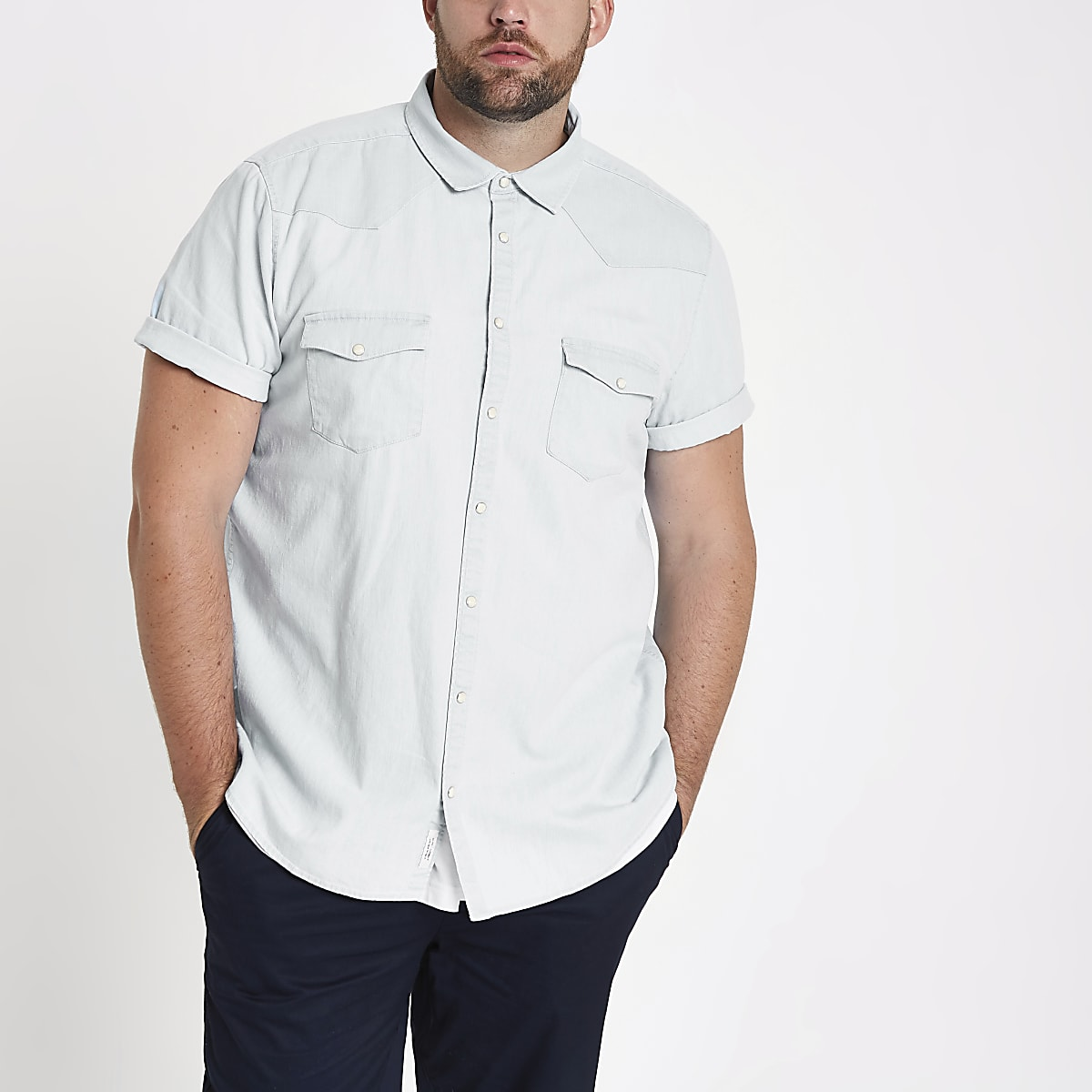 Chemise en jean Big and Tall bleue