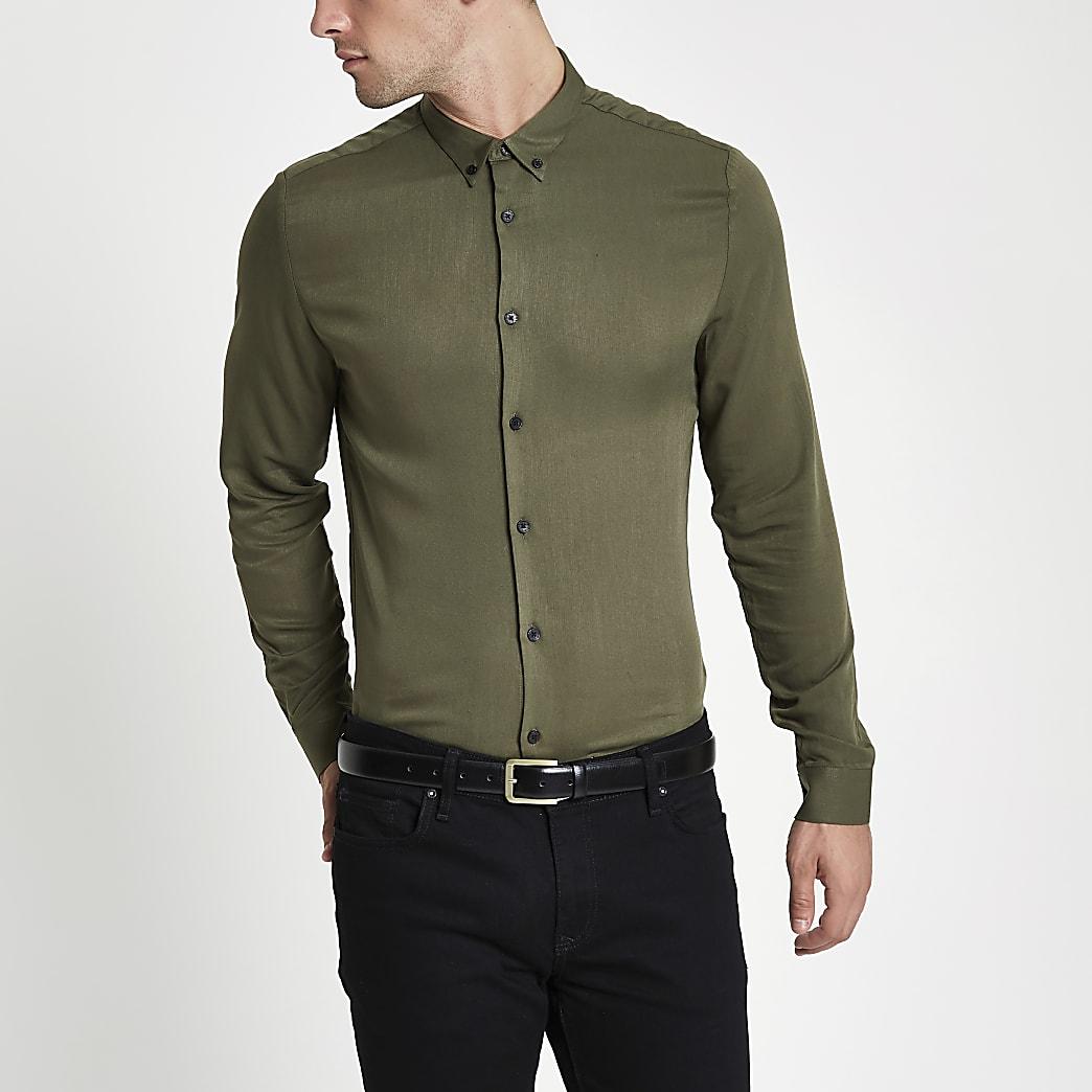 Khaki long sleeve slim fit shirt
