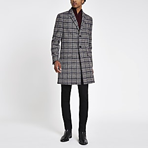Grey check wool blend overcoat