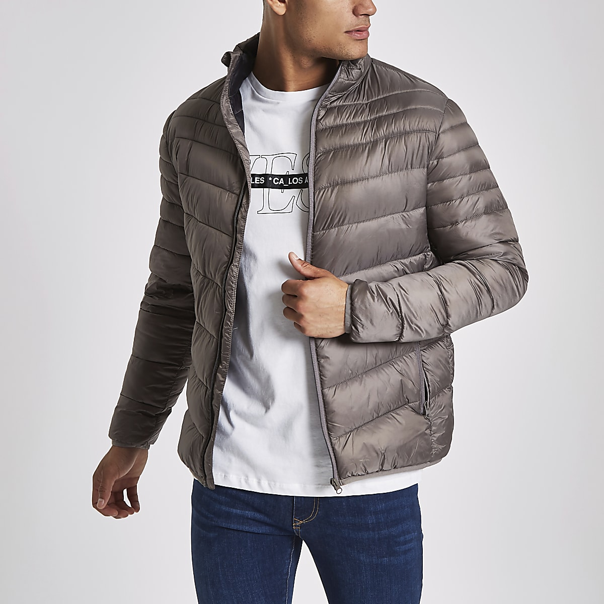 Grey zip front funnel neck puffer jacket