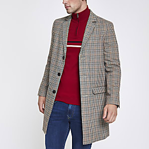 Manteau habillé marron à carreaux